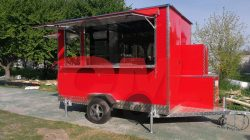 Foodtruck de 3 metros, color rojo formato estándar.